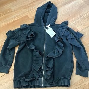 Zara girls gray sweatshirt jacket with flounces